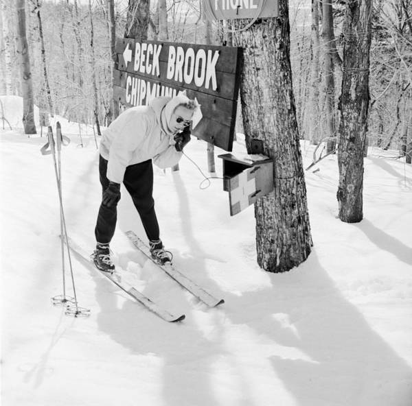 Mid Adult Poster featuring the photograph Skier's Telephone by Titchen