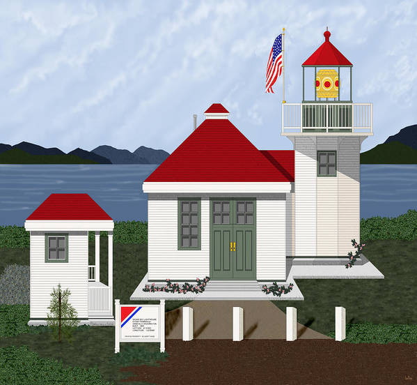 Skunk Bay Lighthouse Poster featuring the painting Skunk Bay Lighthouse by Anne Norskog