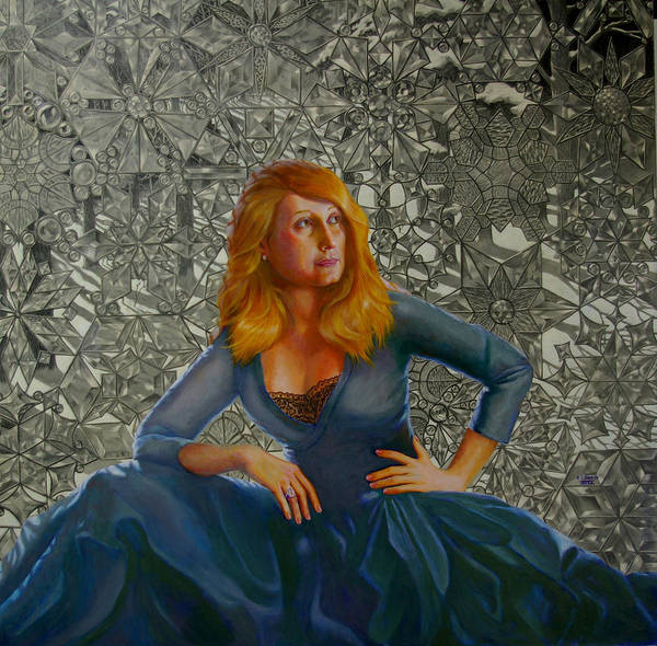 Lady Sitting In Front Of A Leaded Glass Window Poster featuring the mixed media Snow Queen by RC Bailey