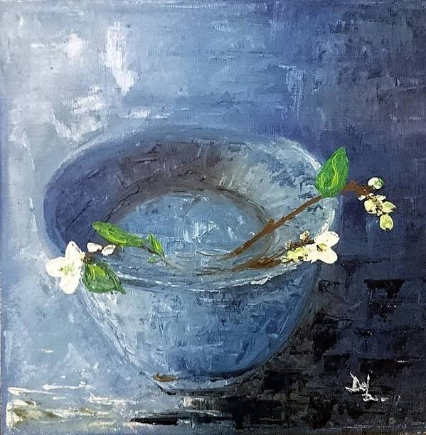 Snowdrops Moreblue Homedecor Abstractview Beautiful Attractive Poster featuring the painting Snowdrops Bowl by Denisa Olbojan