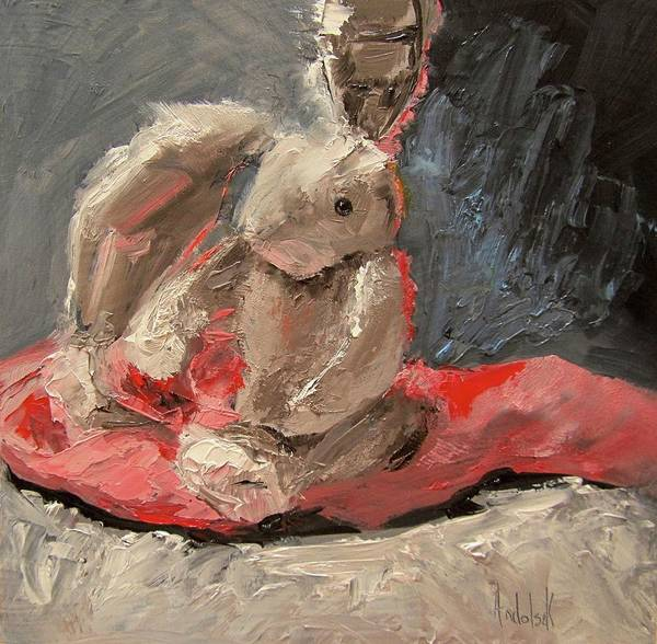 Still Life Poster featuring the painting Snuggle Bunny by Barbara Andolsek