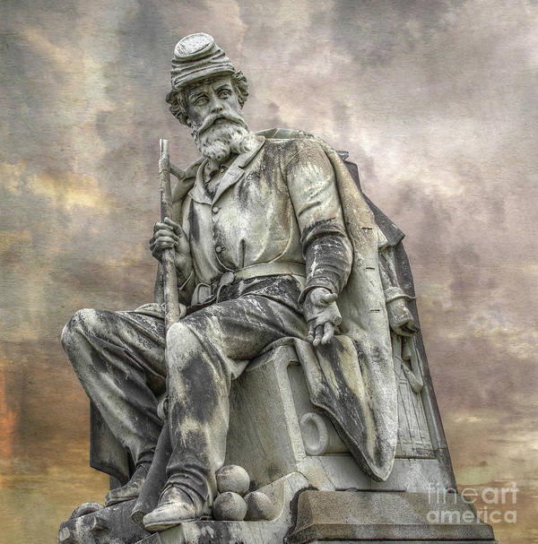 Gettysburg Battlefield Poster featuring the digital art Soldiers National Monument War Statue Gettysburg Cemetery by Randy Steele