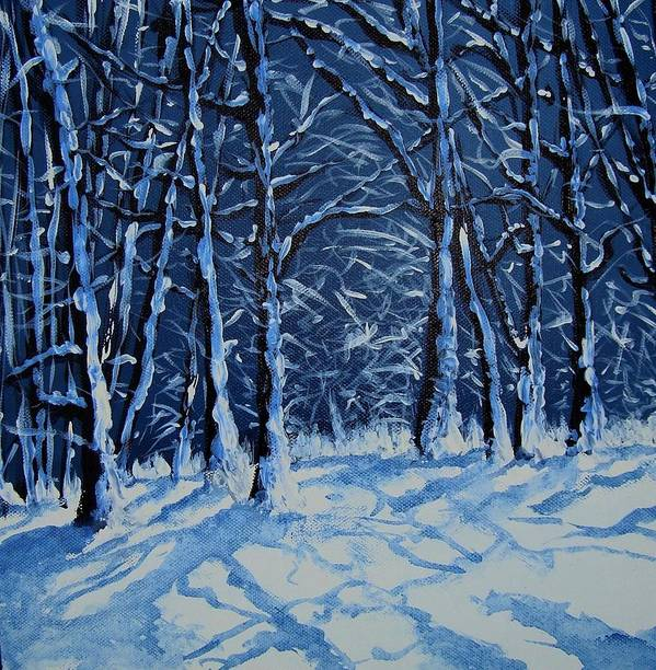 Landscape Poster featuring the painting Somich Snow by Veronique Radelet