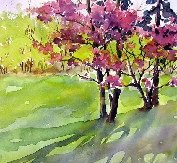 Watercolor Poster featuring the painting Spring Blossoms by Chito Gonzaga
