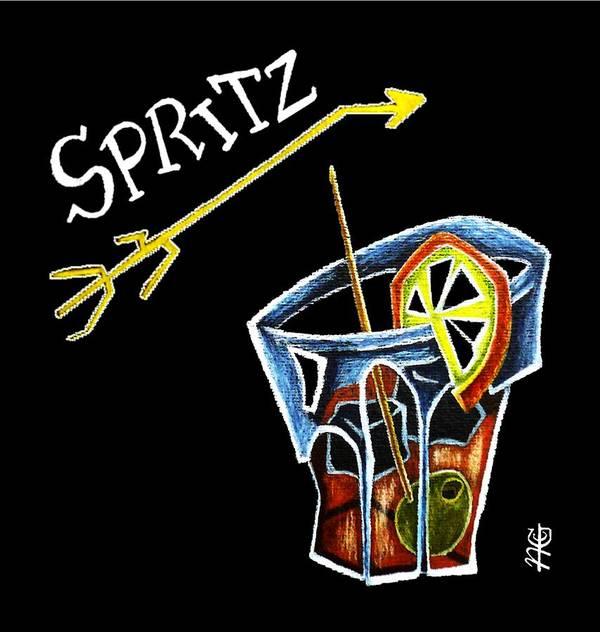 76b58ffb2ce7 Spritz Poster featuring the drawing Spritz Aperol T-shirt Design Venice  Italy - Venezia Veneto