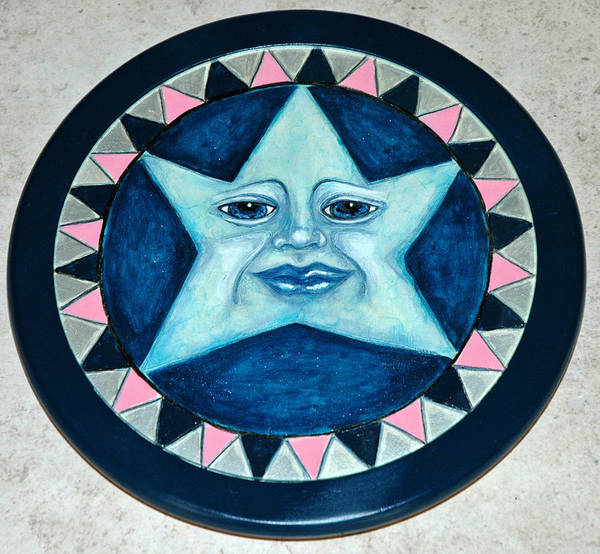 Whimsical Star Face Woodburned And Painted On Wooden Lazy Susan Poster featuring the mixed media Star Face Lazy Susan by Mickie Boothroyd