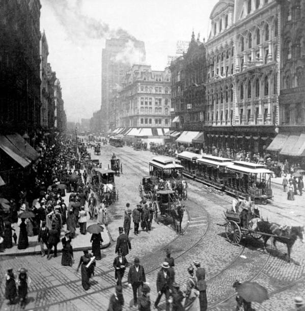 chicago Illinois Poster featuring the photograph State Street - Chicago Illinois - C 1893 by International Images