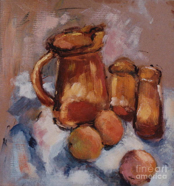 Still Life Poster featuring the painting Still Life With Brown Pitcher by Ina Chomka