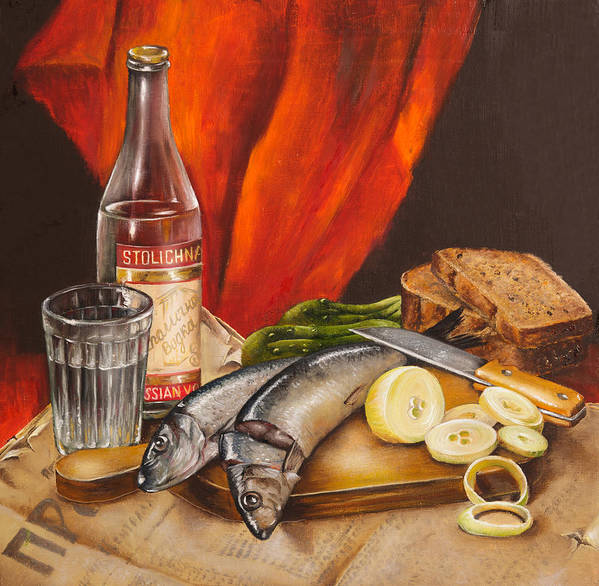 Still Life Poster featuring the painting Still Life With Vodka And Herring by Roxana Paul