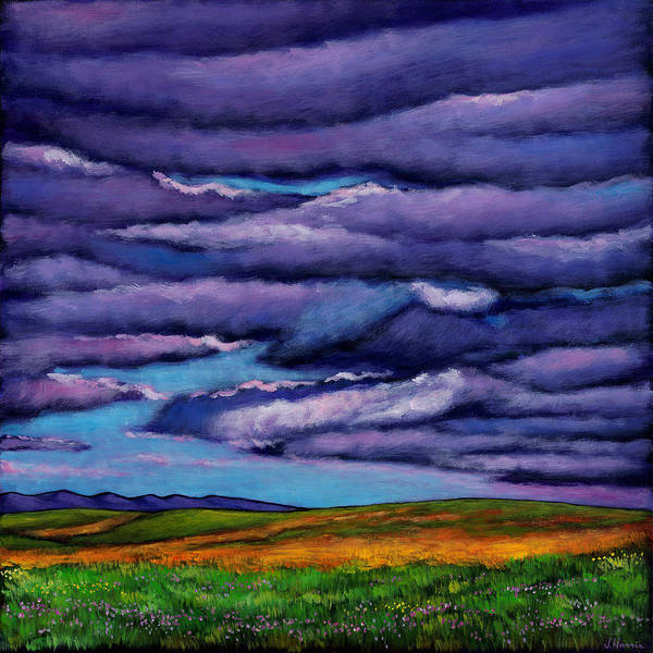 Landscapes Poster featuring the painting Stormy Skies Over the Prairie by Johnathan Harris