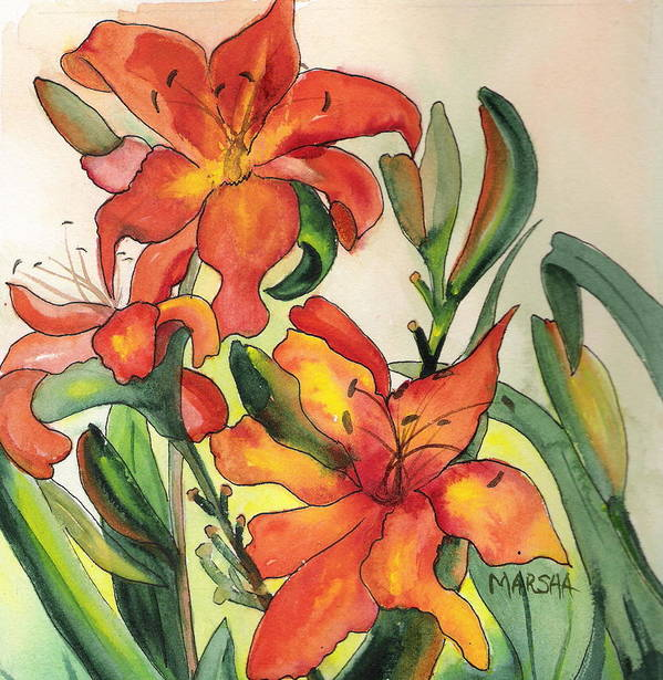 Flowers Orange Lilies Floral Green Garden Poster featuring the painting Summer Lilies by Marsha Woods