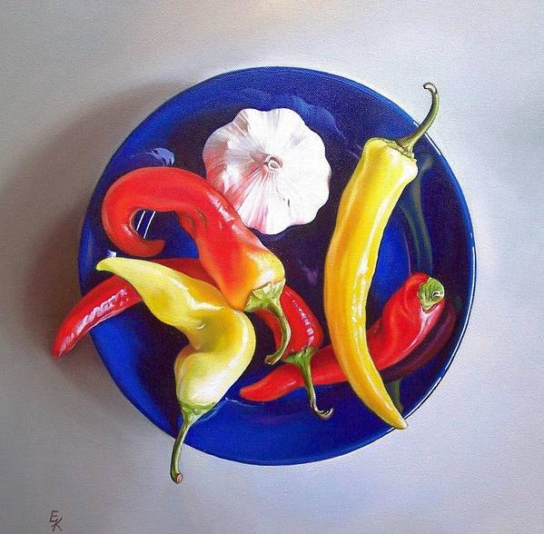Still Life Poster featuring the painting Summer Plate 1 by Elena Kolotusha