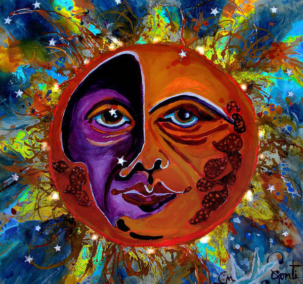 Cbs Sunday Morning Show Poster featuring the painting Sun Duality by Mary Sonya Conti