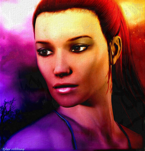 Portrait Poster featuring the painting Sundown Becomes Her by Tyler Robbins