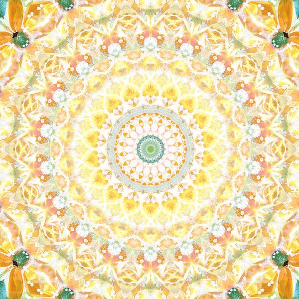 Sunflower Poster featuring the painting Sunflower Mandala- Abstract Art by Linda Woods by Linda Woods