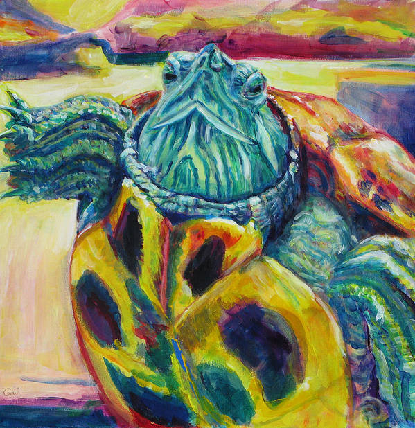 Turtle Poster featuring the painting Sunset by Gail Wartell