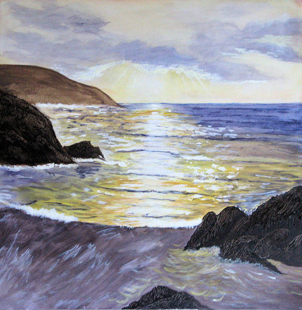 Sunset Poster featuring the painting Sunset by Maris Sherwood