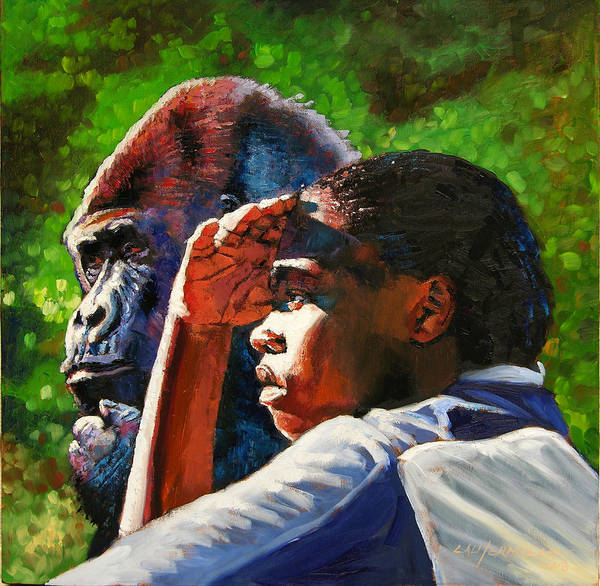 Gorilla Poster featuring the painting Sunset On The Myth by John Lautermilch
