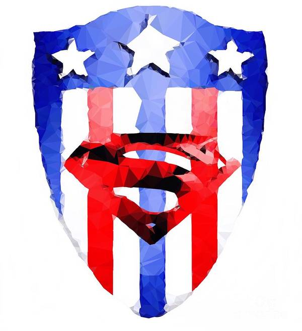 Super Shield Poster featuring the digital art Super Shield by HELGE Art Gallery