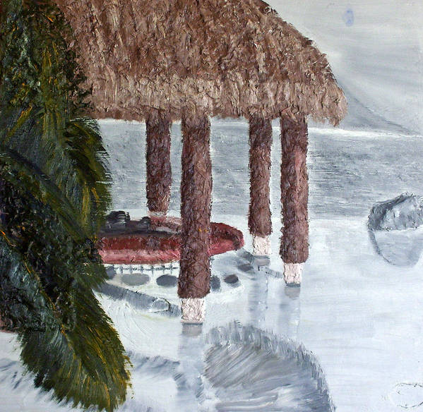 Still Life Paintings Poster featuring the painting Swim To A Beach Bar Cool Huh by Leslye Miller