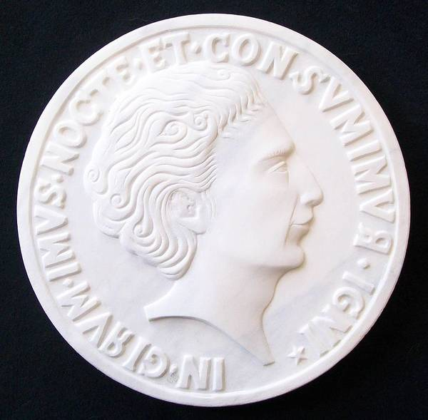 Portrait Stefano Bollani Marble Talent Coin Sculpture Relief Carved Roman Byzantine Poster featuring the sculpture Talent Of Stefano Bollani As Byzantine Emperor In Girum Imus Nocte Et Consumimur Igni by Marino Ceccarelli Sculptor