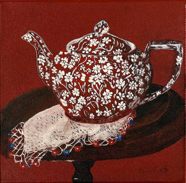 Still Life Poster featuring the painting Teapot Calico Red by Irena Grant-Koch