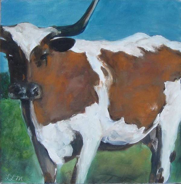 Texas Poster featuring the painting Texas Longhorn by Laura Leigh McCall