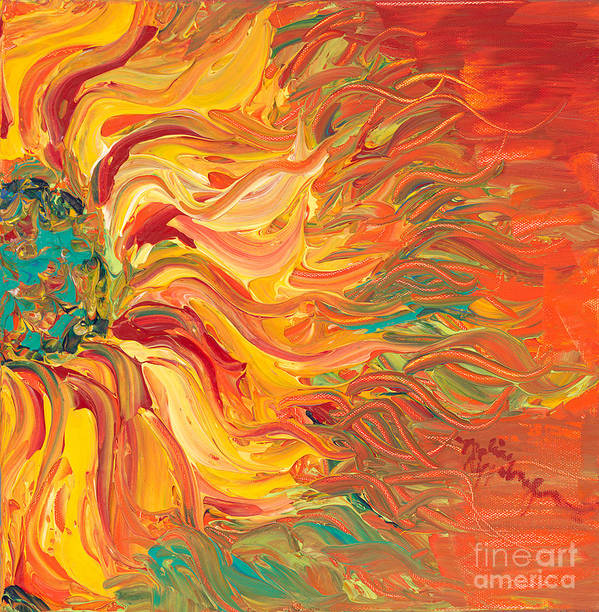 Sunjflower Poster featuring the painting Textured Fire Sunflower by Nadine Rippelmeyer