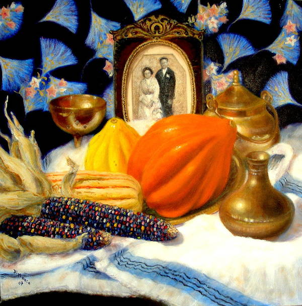 Realism Poster featuring the painting Thanksgiving Of The Past by Donelli DiMaria