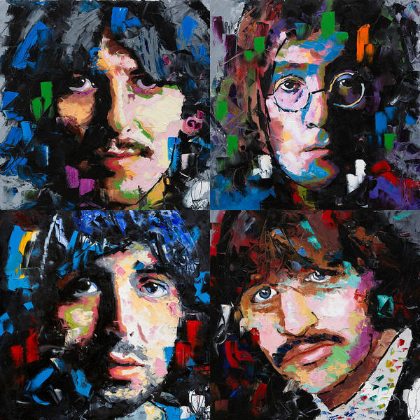 The Beatles Poster featuring the painting The Beatles by Richard Day