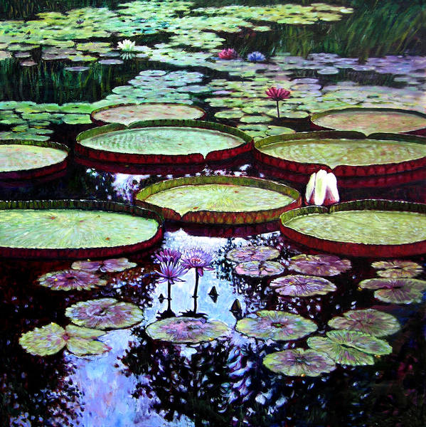 Garden Poster featuring the painting The Beauty of Stillness by John Lautermilch