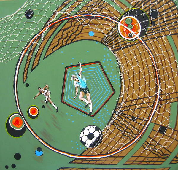 Abstract Sports Poster featuring the painting The Big Kick by V Boge