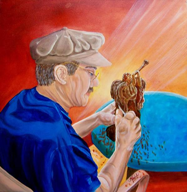 Portrait Poster featuring the painting The Carver by Kathern Ware