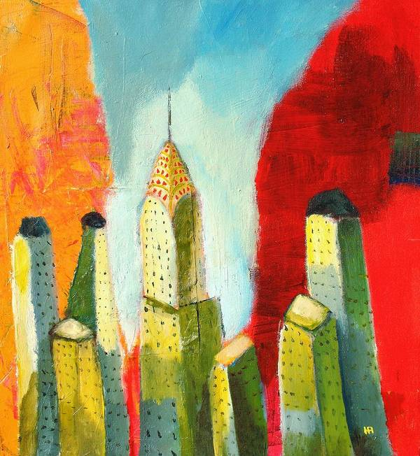 Abstract Cityscape Poster featuring the painting The Chrysler In Colors by Habib Ayat