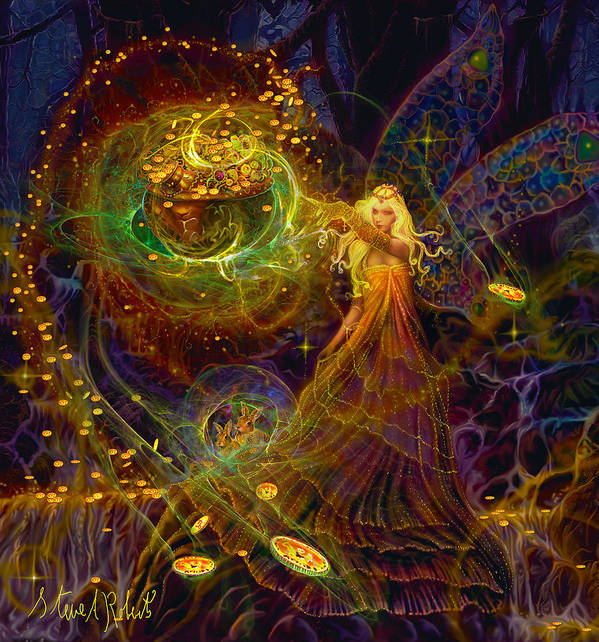 Fairies Art Poster featuring the painting The Fairy Treasure by Steve Roberts
