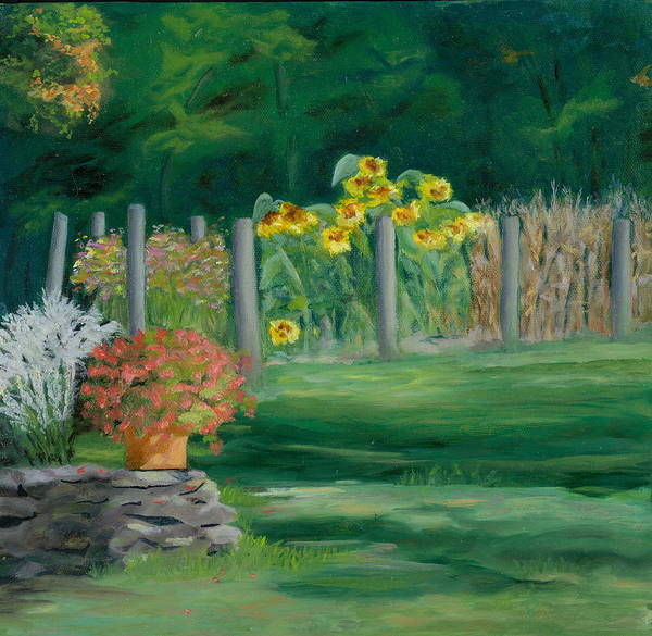 Landscape Poster featuring the painting The Farm Gardens by Paula Emery