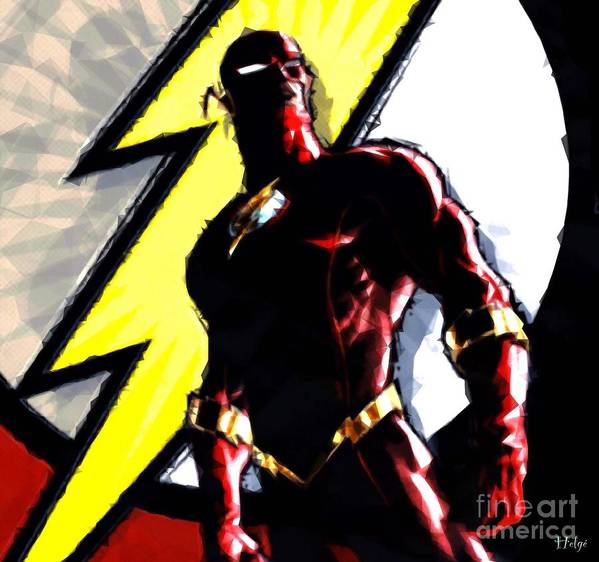 Flash Poster featuring the digital art The Flash by HELGE Art Gallery