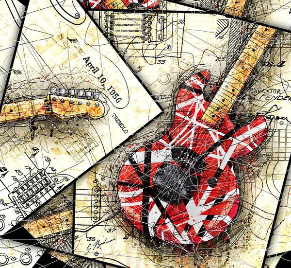 Guitar Poster featuring the digital art The Frankenstrat by Gary Bodnar