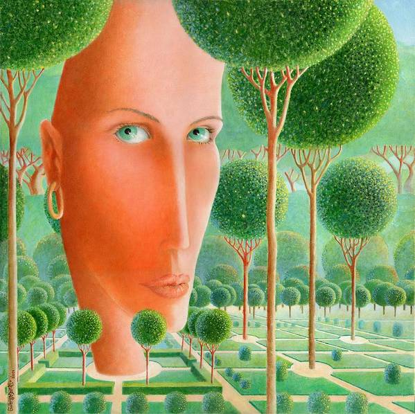 Giuseppe Mariotti Poster featuring the painting The Garden by Giuseppe Mariotti