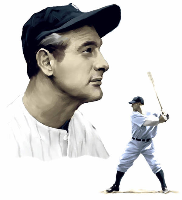 Lou Gehrig Poster featuring the painting The Iron Horse Lou Gehrig by Iconic Images Art Gallery David Pucciarelli