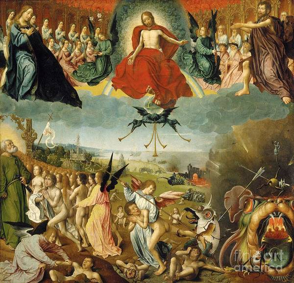 The Poster featuring the painting The Last Judgement by Jan II Provost