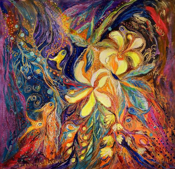 Original Poster featuring the painting The Lilies Of Galilee by Elena Kotliarker