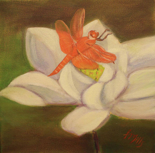 Dragonfly Poster featuring the painting The Lotus And The Dragonfly by Lesley Mills
