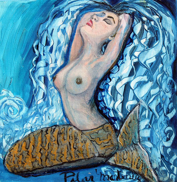 Mermaid Poster featuring the painting The Mermaid by Pilar Martinez-Byrne
