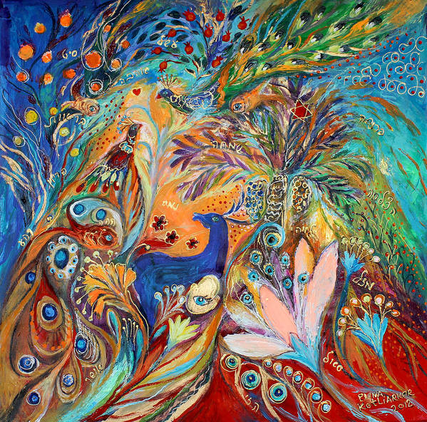 Judaica Poster featuring the painting The Peacocks And Blue Deer by Elena Kotliarker