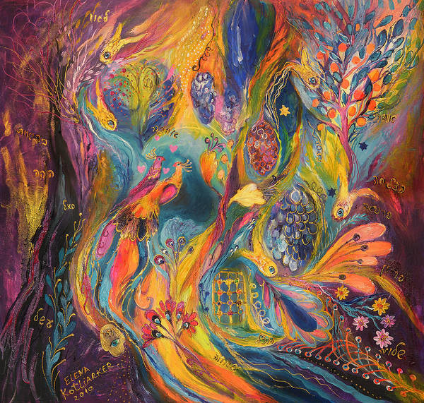 Original Poster featuring the painting The Purple Rain by Elena Kotliarker