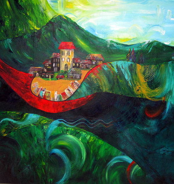 Landscape Poster featuring the painting The Village Rivers I by Cheryl Ehlers