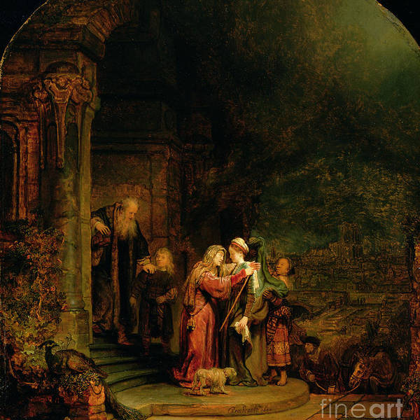 The Poster featuring the painting The Visitation by Rembrandt Harmensz van Rijn