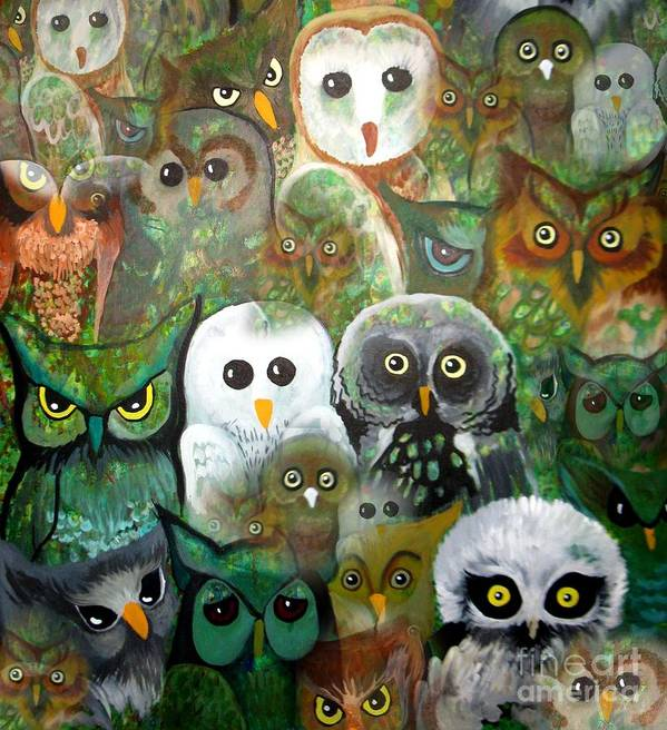 Owls Poster featuring the painting The Who by Amy Sorrell