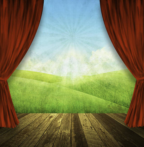 Aged Poster featuring the painting Theater Stage With Red Curtains And Nature Background by Setsiri Silapasuwanchai